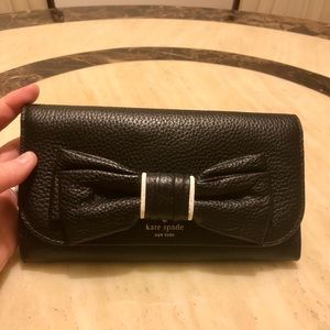 New Kate Spade Black Calfskin Leather Bow WOC